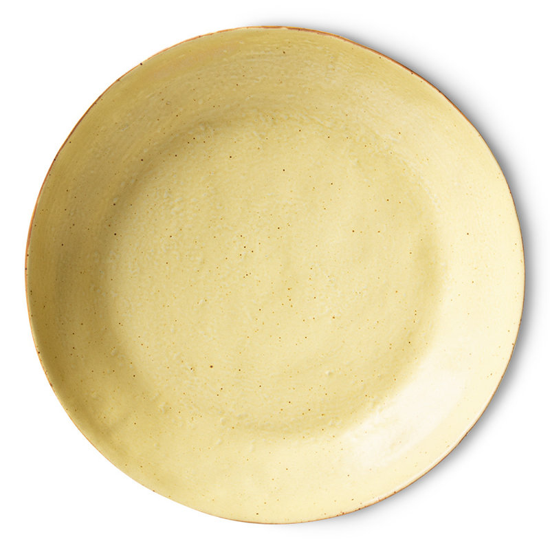 HKliving-collectie bold & basic ceramics: pasta plate yellow/brown (set of 2)
