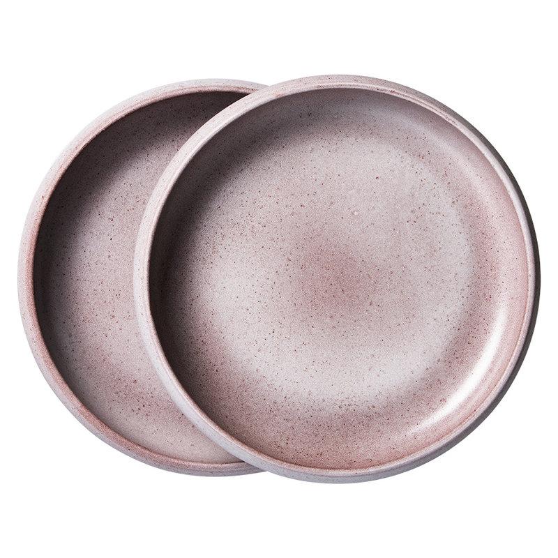 HKliving-collectie bold & basic ceramics: deep plate purple (set of 2)