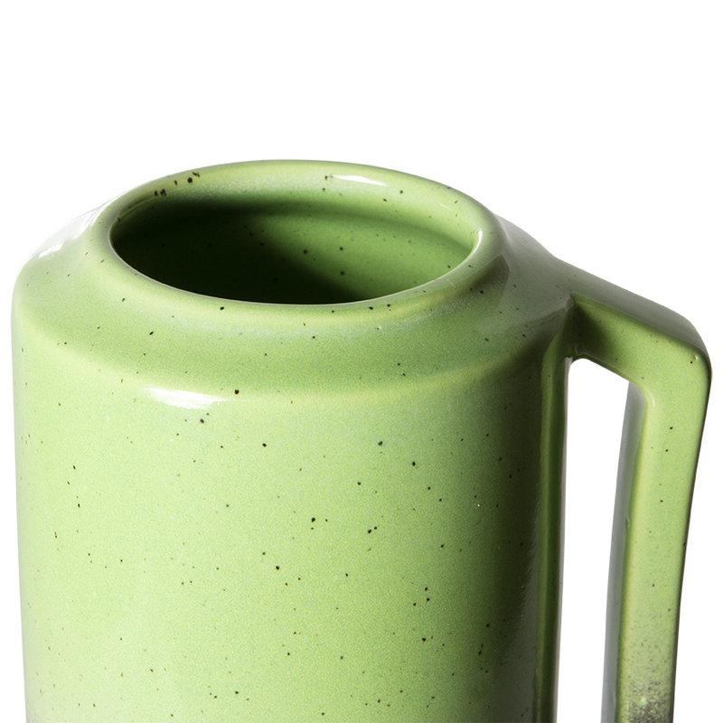 HKliving-collectie The emeralds keramiek vaas groen met handvat