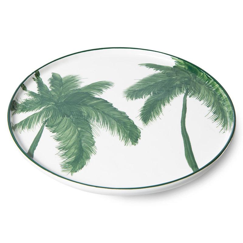 HKliving-collectie bold & basic ceramics: porcelain dinner plate palms, green