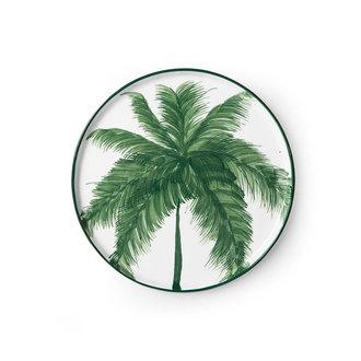 HKliving Bold & basic keramieks bijgerecht bord palms groen porselein