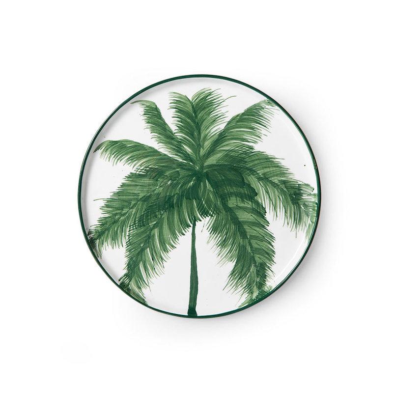 HKliving-collectie Bold & basic keramieks bijgerecht bord palms groen porselein