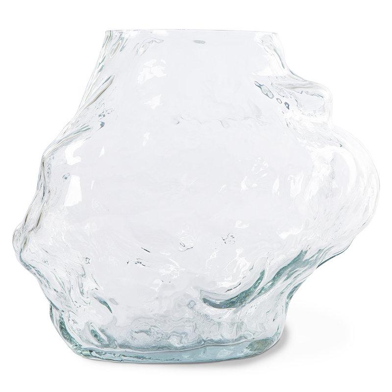 HKliving-collectie Cloud vaas helder glas laag