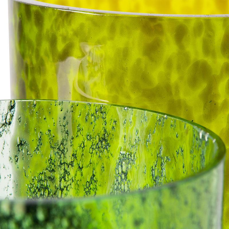 HKliving-collectie Cheetah vaas groen glas (set van 2)