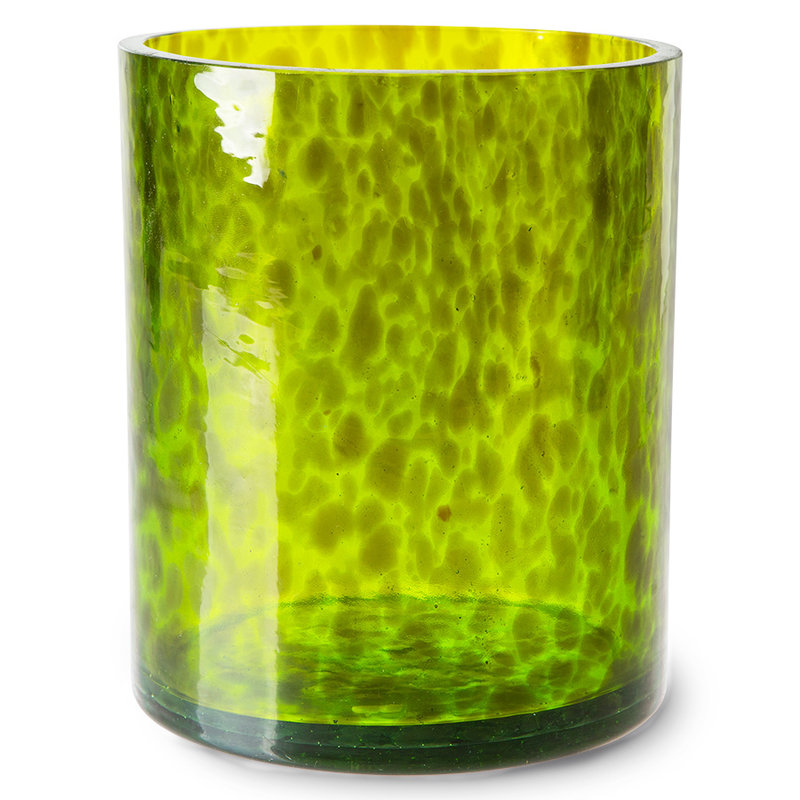 HKliving-collectie cheetah glass vases, green (set of 2)