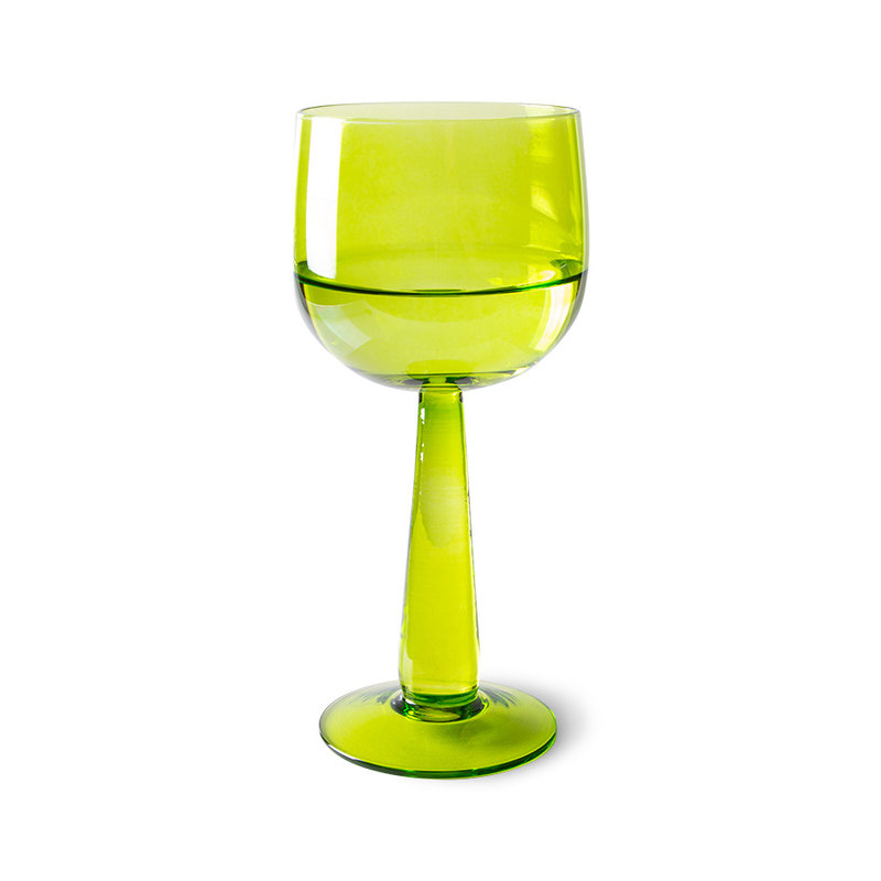HKliving-collectie the emeralds: wine glass tall, lime green (set of 4)