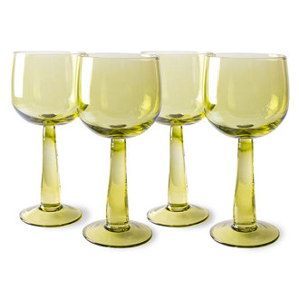 HKliving the emeralds: wine glass tall, olive green (set of 4)