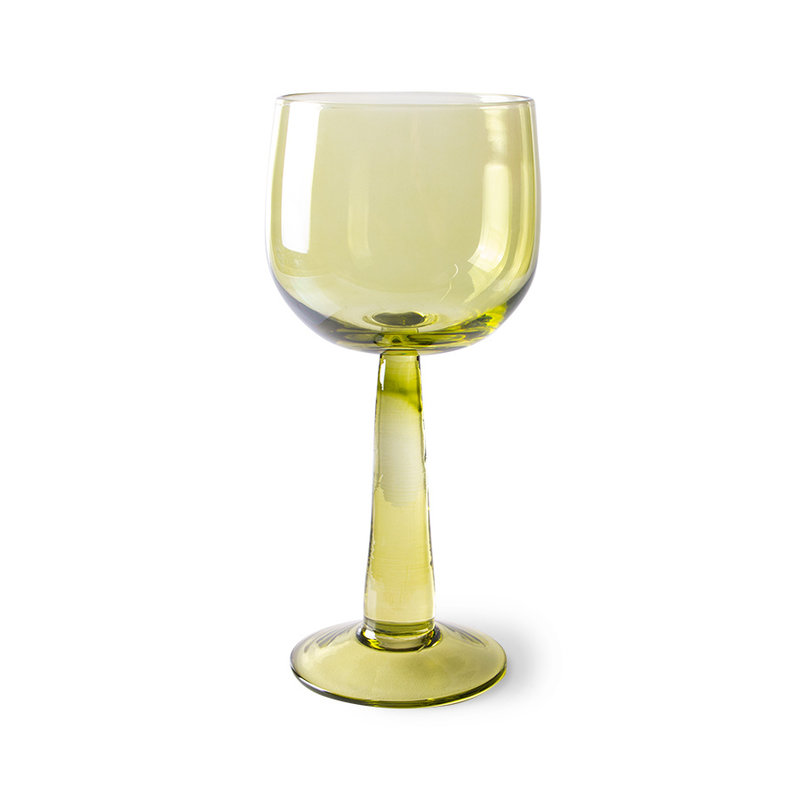 HKliving-collectie the emeralds: wine glass tall, olive green (set of 4)