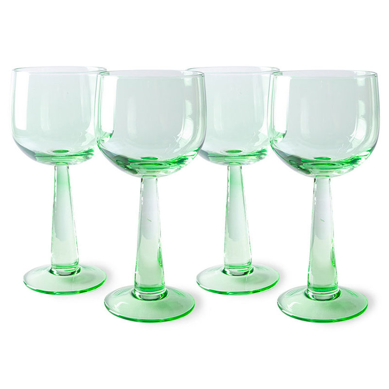 HKliving-collectie the emeralds: wine glass tall, fern green (set of 4)