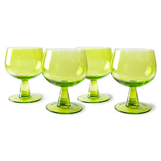 HKliving the emeralds: wine glass low, lime green (set of 4)
