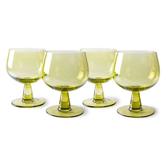 HKliving the emeralds: wine glass low, olive green (set of 4)