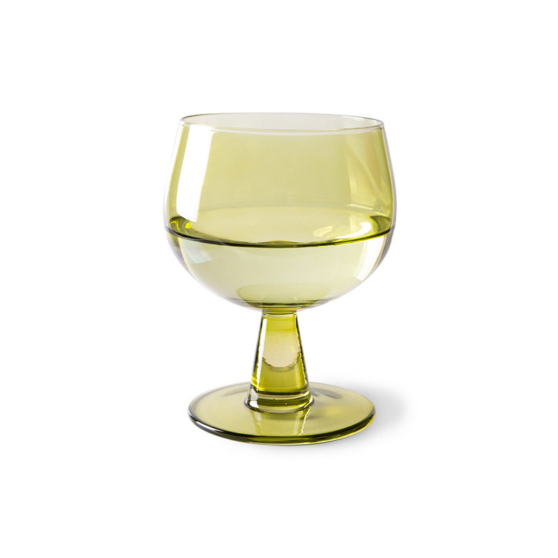 HKliving-collectie the emeralds: wine glass low, olive green (set of 4)