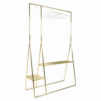 HKliving clothing rack with hanger/hook set, brass