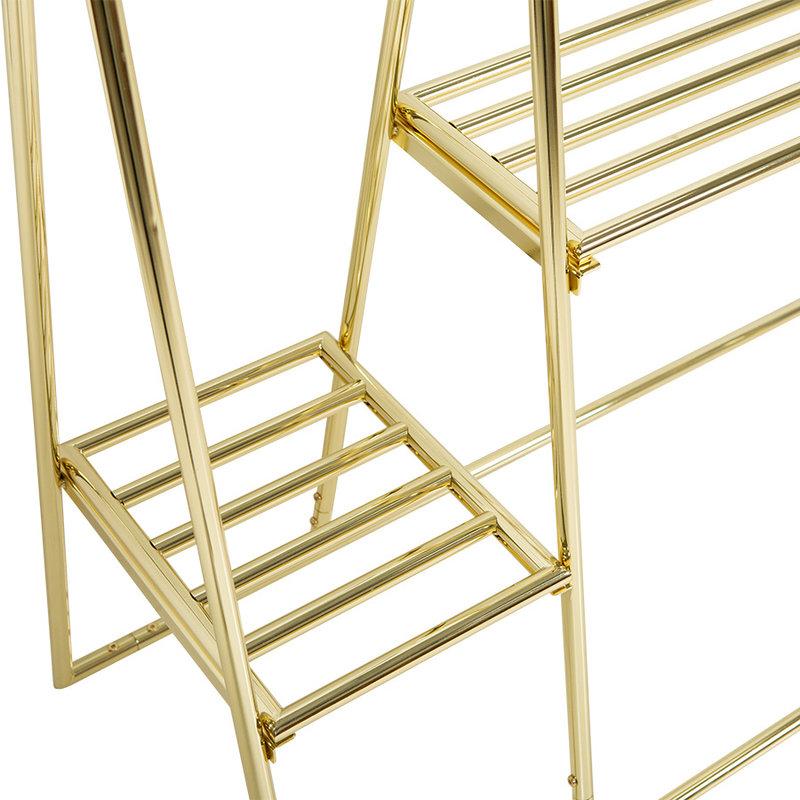 HKliving-collectie Kledingrek met hangers en haken brass