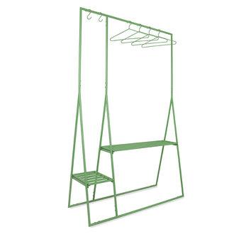 HKliving Kledingrek met hangers en haken fern groen