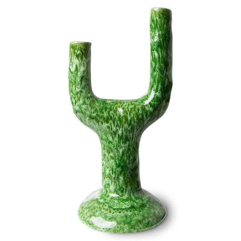 HKliving-collectie The emeralds keramiek kandelaar L reactive groen
