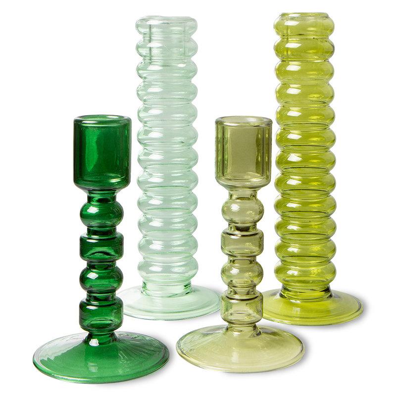 HKliving-collectie The emeralds glazen kandelaar L lime groen