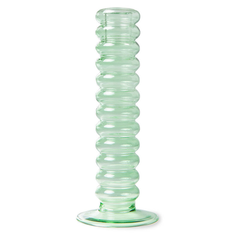 HKliving-collectie the emeralds: glass candle holder L, mint green