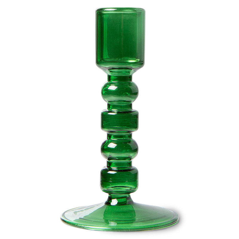 HKliving-collectie the emeralds: glass candle holder M, forest green