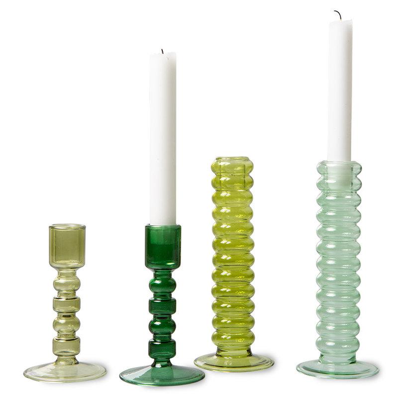 HKliving-collectie The emeralds glazen kandelaar M forest groen