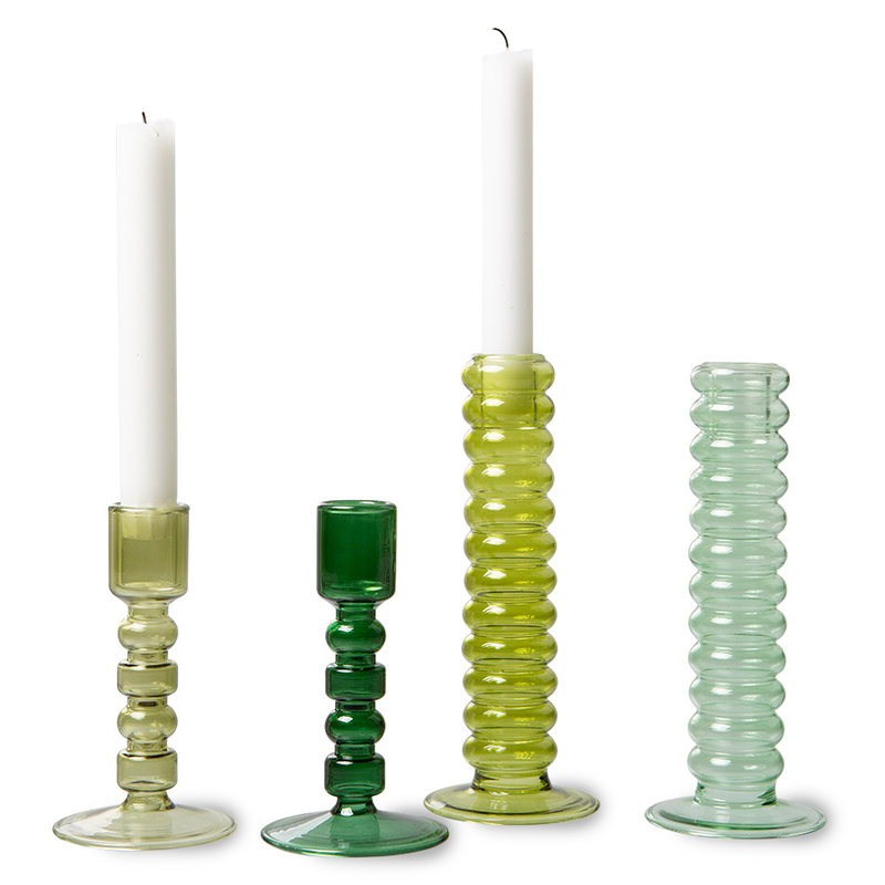 HKliving-collectie the emeralds: glass candle holder M, olive green