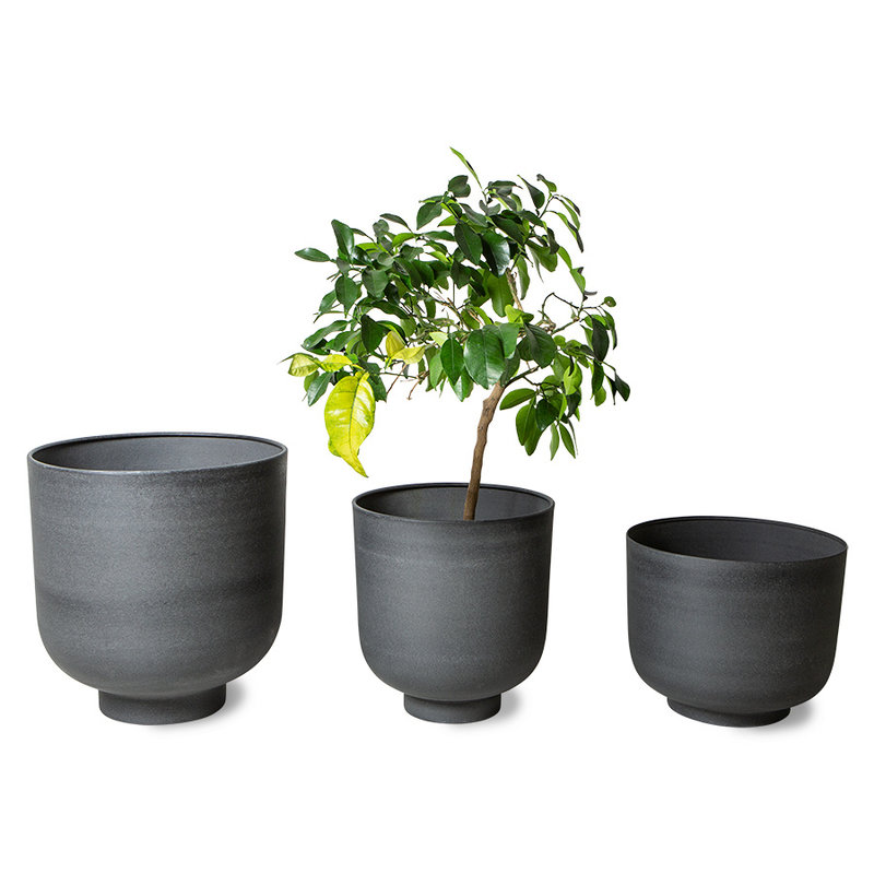 HKliving-collectie metal planter charcoal (set of 3)