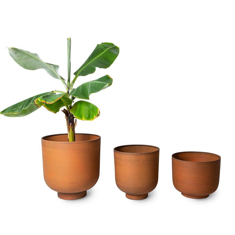 HKliving-collectie metal planter ginger (set of 3)
