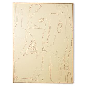 HKliving Abstract schilderij visage 120x160cm