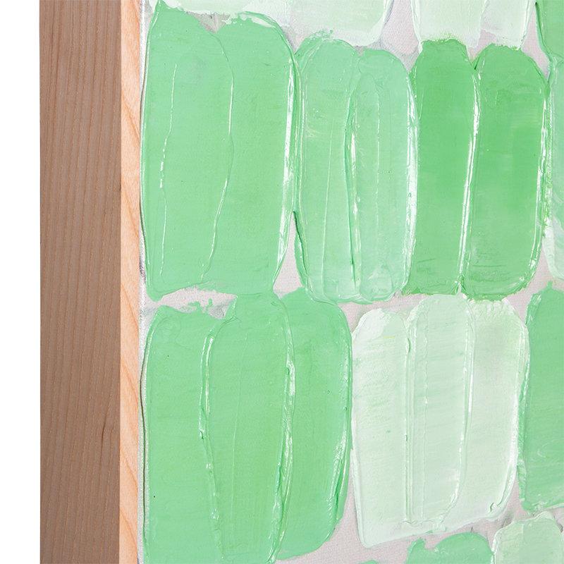 HKliving-collectie Schilderij groen palet abstract met lijst 75x100cm