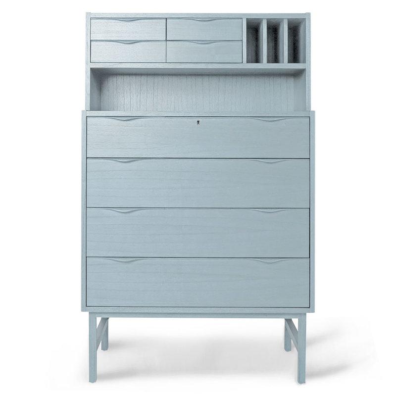 HKliving-collectie Houten secretaire kast  grijs/blauw