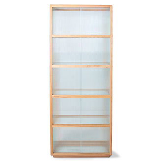 HKliving display cabinet wood with ribbed glass, natural
