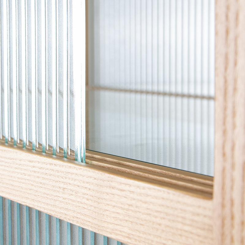 HKliving-collectie Vitrinekast met geribbeld glas naturel hout