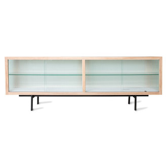 HKliving lowboard with ribbed glass, natural