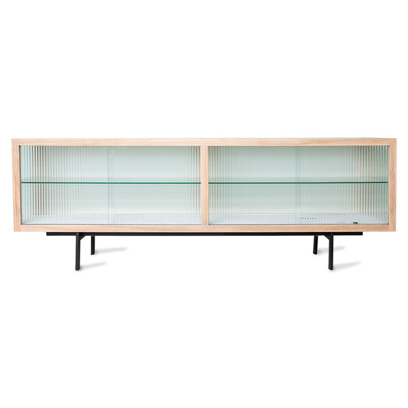 HKliving-collectie lowboard with ribbed glass, natural