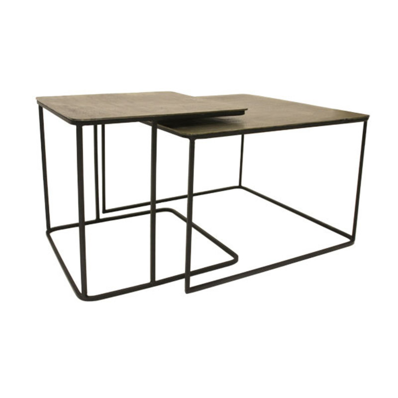 HKliving-collectie metal/brass coffee table set of 2