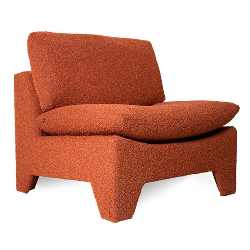 HKliving-collectie Retrolounge fauteuil boucle brick
