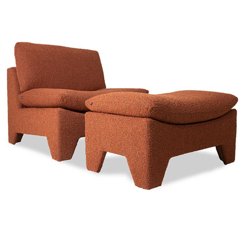 HKliving-collectie retro lounge fauteuil boucle brick