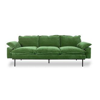 HKliving Retrosofa 3-zits royal velvet groen