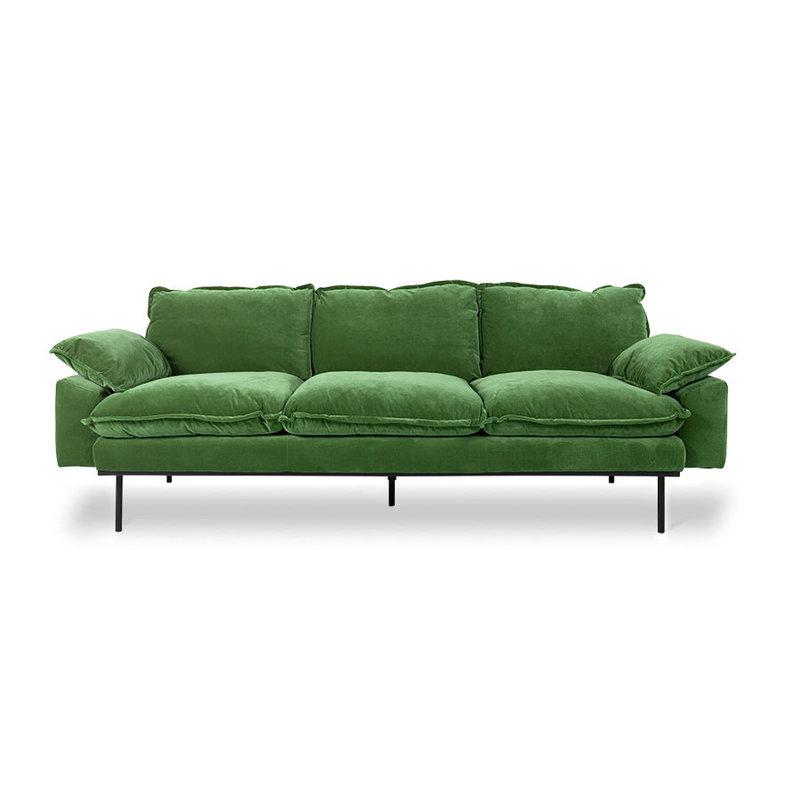 HKliving-collectie Retrosofa 3-zits royal velvet groen