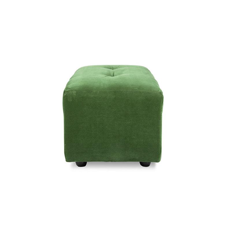 HKliving-collectie Vint bank element hocker klein royal velvet groen