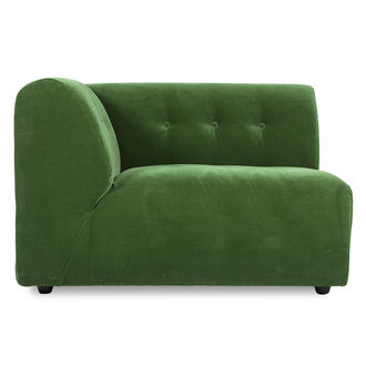 HKliving Vint bank element links 1,5-seat royal velvet groen