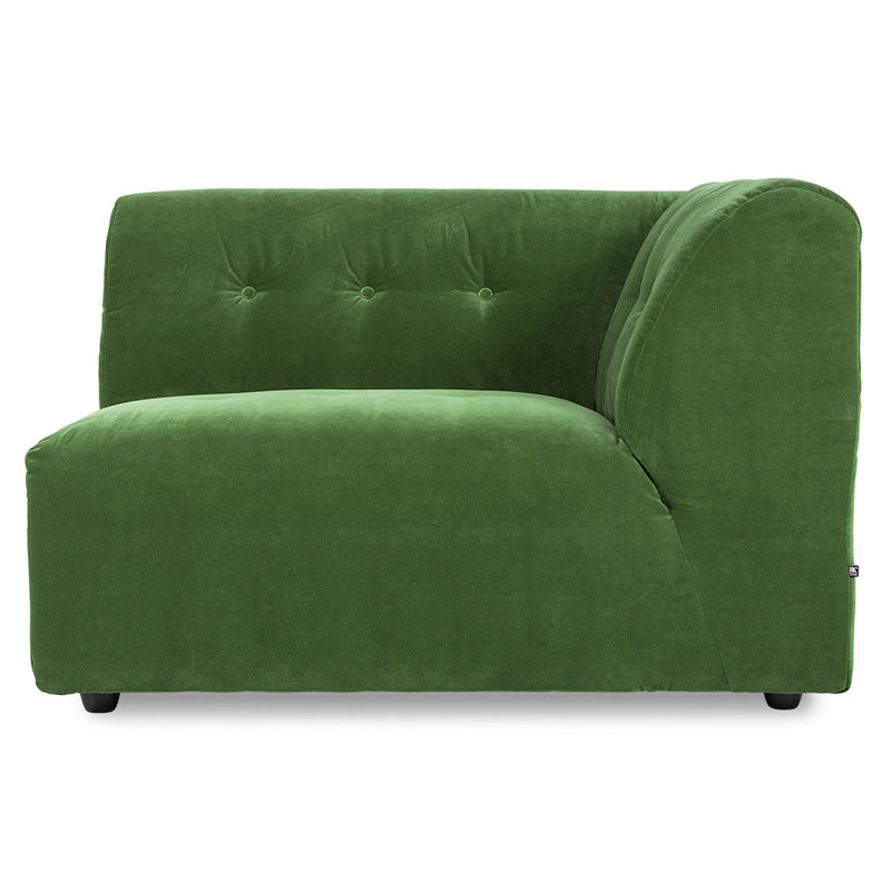 HKliving-collectie vint couch: element right 1,5-seat, royal velvet, green