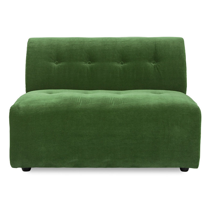 HKliving-collectie vint couch: element middle 1,5-seat, royal velvet, green