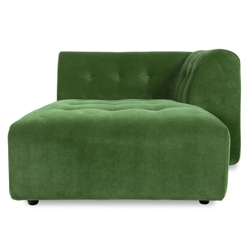 HKliving-collectie Vint bank element rechts divan royal velvet groen