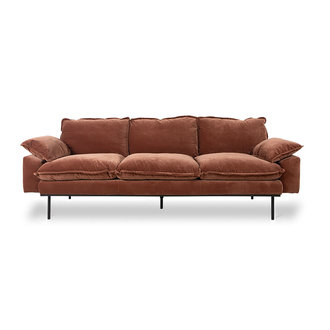 HKliving retro sofa: 3-seats, royal velvet, magnolia