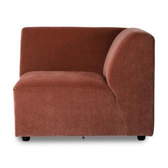 HKliving jax couch: element right corner, royal velvet, magnolia