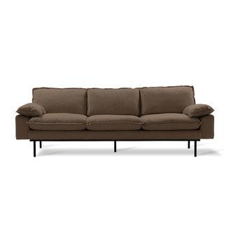 HKliving retro sofa: 4-seats, linen shadow, brown