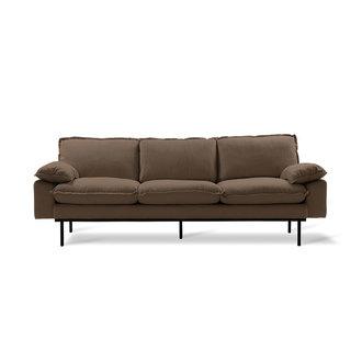 HKliving retro sofa: 3-seats, linen shadow, brown