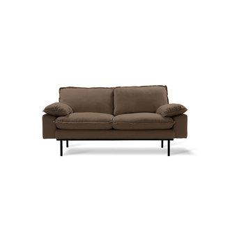 HKliving retro sofa: 2-seats, linen shadow, brown