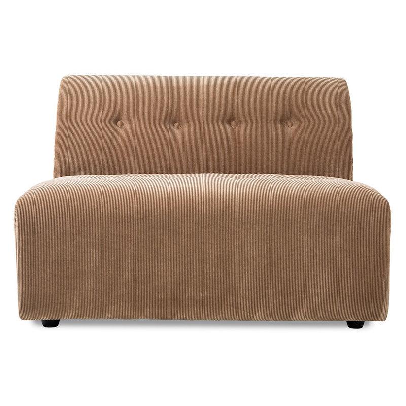 HKliving-collectie Vint bank element midden 15-seat corduroy rib bruin